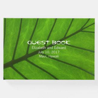 Libro de visitas tropical del boda de la hoja