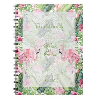 Libro de visitas tropical del boda de playa del cuaderno