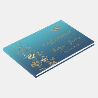 Libro De Visitas Trullo, oro floral, mariposas que casan Guestbook