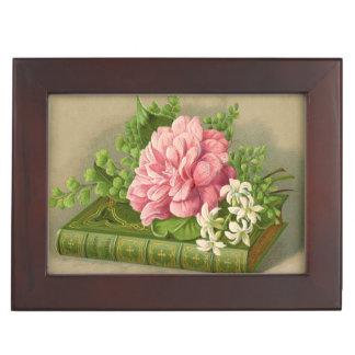 Libro del Victorian y caja del recuerdo de la flor