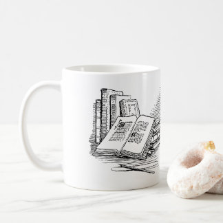Libro viejo el drawing|| apenas un más capítulo taza de café