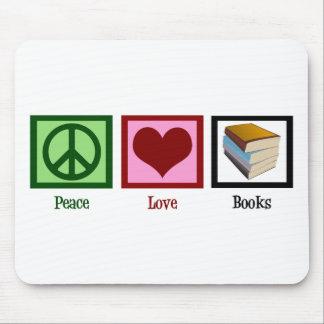 Libros del amor de la paz alfombrilla de ratón