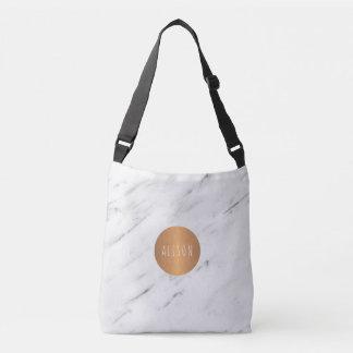 Libros geométricos de cobre de mármol blancos del bolso cruzado