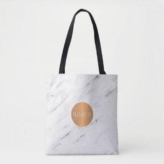 Libros geométricos de cobre de mármol blancos del bolso de tela