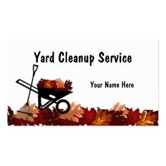 Licencia de otoño de la limpieza que rastrilla la  tarjetas de visita