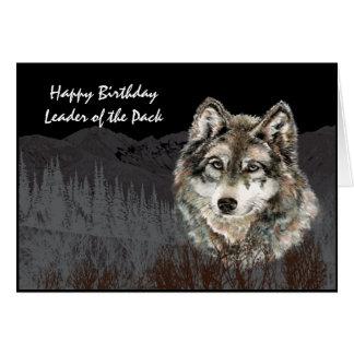 Líder del animal del lobo del humor del cumpleaños felicitación