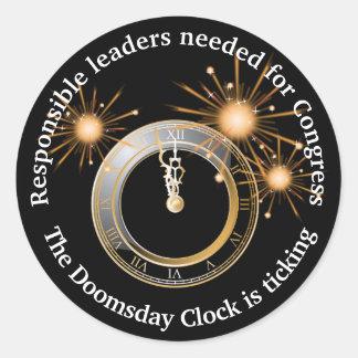 Líderes responsables para el reloj del día del pegatina redonda