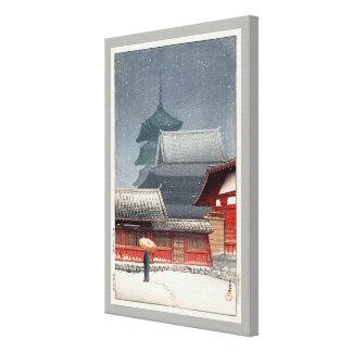 Lienzo 四天王寺, Shitennō-ji en Osaka, Hasui Kawase, grabar