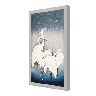 Lienzo 白鷺の群れ, grupo de Egrets, Ohara Koson, grabar en