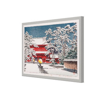 Lienzo 雪の増上寺, templo en la nieve, Hasui Kawase de Zôjô-ji