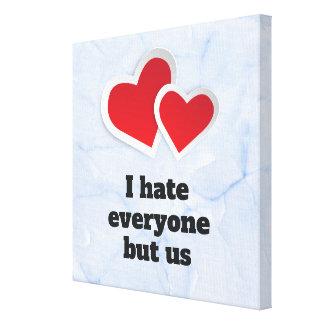 Lienzo 2 corazones rojos - odio cada uno pero nos