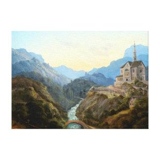 Lienzo Abadía del río del paisaje de la montaña de Carl