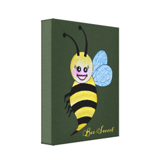 Lienzo Abeja linda de la miel de la acuarela con sonrisa