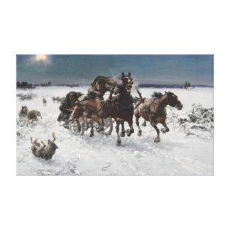 Lienzo Alfred Kowalski perseguido por los lobos