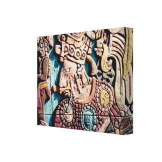 Lienzo Alto sacerdote indio azteca que talla la lona