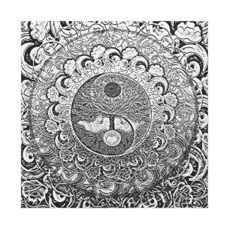 Lienzo Armonía y balanza Yin de plata Yang