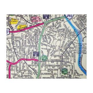 Lienzo ASHEVILLE, mapa del vintage del NC