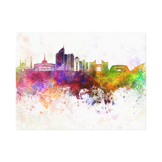 Lienzo Astana skyline in watercolor background