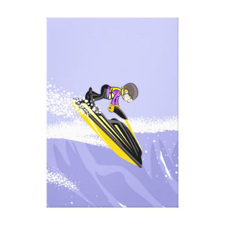 Lienzo Audaz deportista surfeando una ola con su jet ski