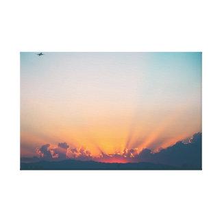 Lienzo Aviones del cielo el | de la salida del sol el |