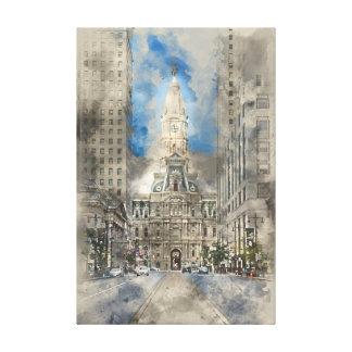Lienzo Ayuntamiento Philadelphia en la calle amplia