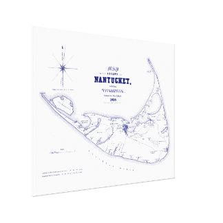 Lienzo Azules marinos del mapa del vintage del mA de la