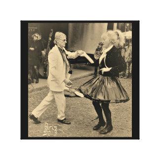Lienzo Baile del jazz en la ruda Mouffetard París