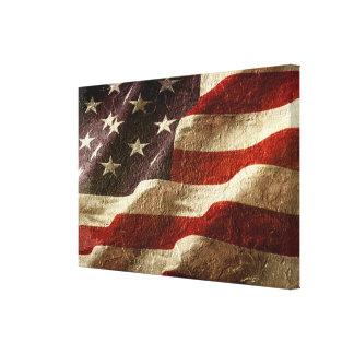 Lienzo Bandera americana tallada en piedra