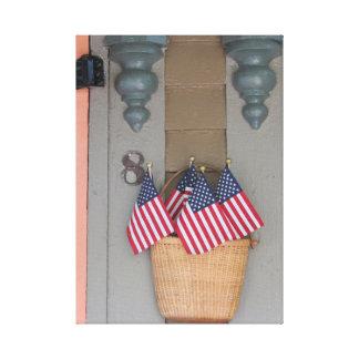Lienzo Banderas y cesta, cabaña del Martha's Vineyard