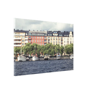 Lienzo Barcos y casas en Estocolmo