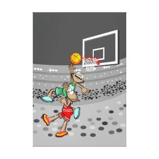 Lienzo Basquetbol niño lanza la pelota al aro