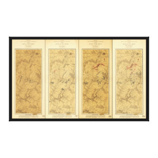 Lienzo Batalla del campo de Gettysburg del mapa de