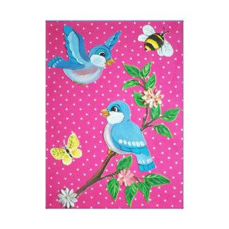 Lienzo Bebé alegre de la apariencia vintage del Bluebird,