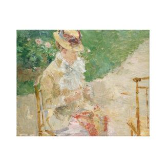 Lienzo Berthe Morisot - el hacer punto de la mujer joven