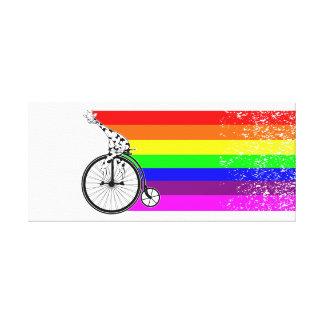 Lienzo Bici del arco iris de la jirafa