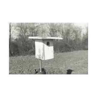 Lienzo Birdhouse blanco y negro en lona