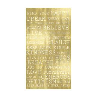 Lienzo Blanco inspirado del oro de las palabras de los