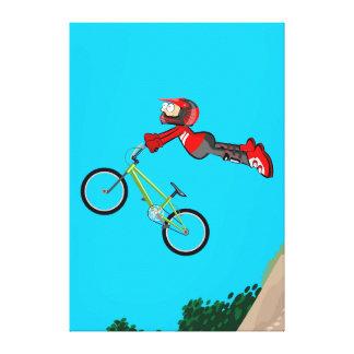 Lienzo BMX ciclismo niño volando por el aire con su bici