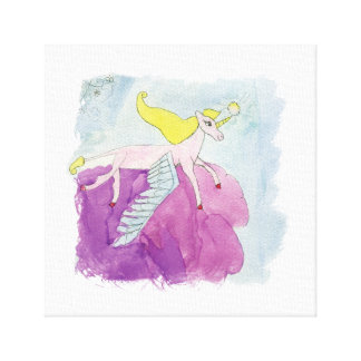 Lienzo Caballo con alas potro de Alicorn de la acuarela