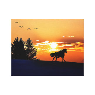 Lienzo caballo corriente - caballo de la puesta del sol -