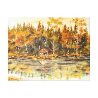 Lienzo Cabina en el lago