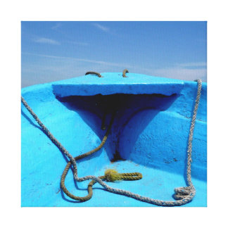 Lienzo Canoa azul con la cuerda