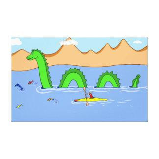 Lienzo Capitán Kayak y monstruo de Loch Ness