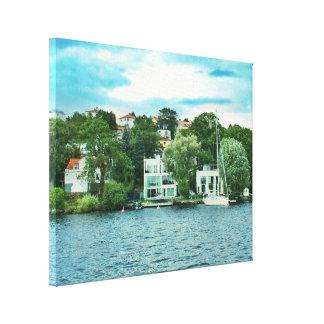 Lienzo Casas de la costa en Suecia