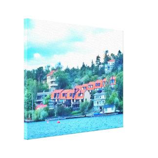 Lienzo Casas delanteras del lago, Suecia