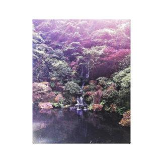 Lienzo Cascada japonesa del jardín