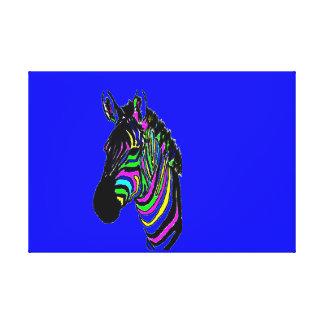 Lienzo Cebra colorida de neón