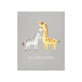 Lienzo Cebra y jirafa lindas del bebé