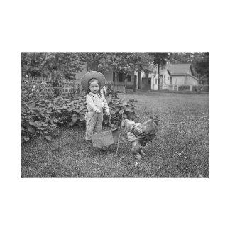 Lienzo chica de la fotografía de los 1880's en carro del