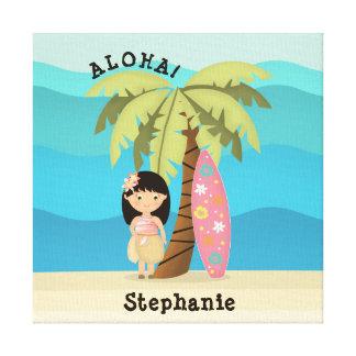 Lienzo Chica hawaiano de la persona que practica surf